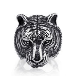 Mens Boys Tiger Silver 316L Stainless Steel Biker Ring Fashi