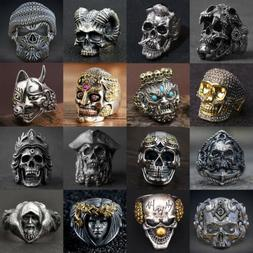 Cool Mens Stainless Steel Alloy Gothic Skull Rings Head Boy