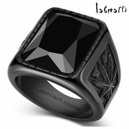 MENDEL Mens Stainless Steel Black Onyx Cannabis Ring Size 7
