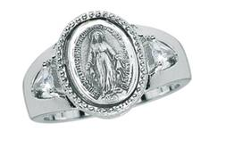 Miraculous Medal with Side Trillian CZ Stones Sterling Silve