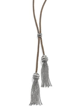Brighton Neptune's Rings Lariat Silver Crystal Beige Leather