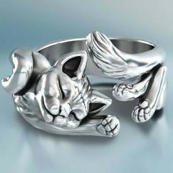 New 925 Silver Cute Cat Adjustable Ring Silver Wedding Rings