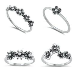 NEW Design Sterling Silver 925- FLOWER RINGS SIZES 4 to 13
