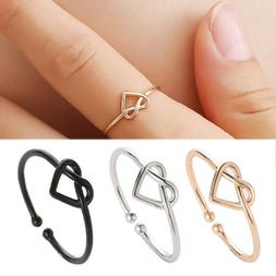 New Fashion Gold Silver Black Knot Heart Adjustable Open Fin