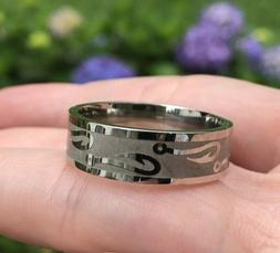 *NEW* Men's Fish Hook Silver Stainless Steel - Band Ring -