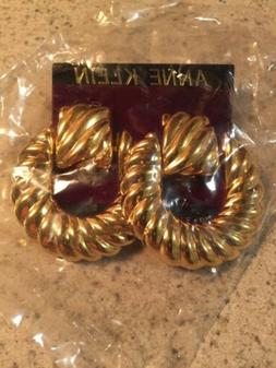 New Old Stock ANNE KLEIN Goldtone Dangle  Clip-On Earrings 2