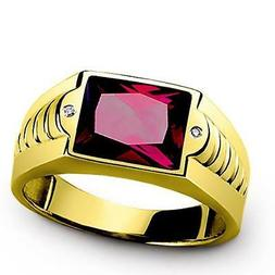 NEW Red Ruby Ring for Men with Diamonds in REAL 14K Fine Yel