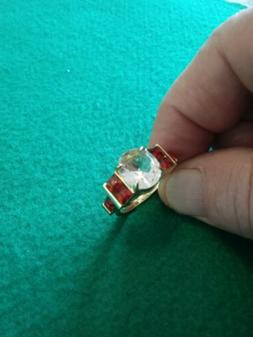 New size 8.5, Yellow gold filled, white sapphire and red rub