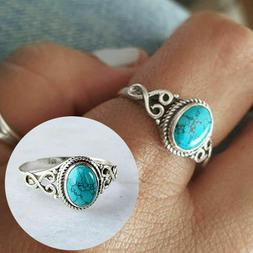New Women Fashion Jewelry 925 Silver Plated Turquoise Size 1
