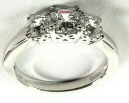 Platinum-Plated Sterling Silver 3-Stone Ring Made with Swaro