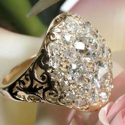 Pretty 18k Yellow Gold Plated Rings for Women Jewelry White