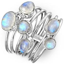 Rainbow Moonstone Stacking Ring Sterling Silver Thin bands S