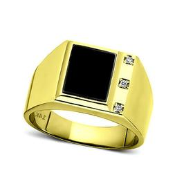 Real Fine 14K Yellow Gold Black Onyx Mens Ring with 0.06ct N