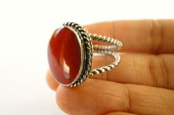 Red Fossil Coral Twisted Edge 925 Sterling Silver Ring 6 7 7