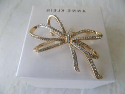Ribbon Brooch Pin Pave Bow Rhinestone Anne Klein