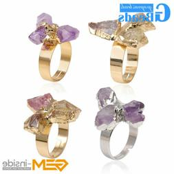 Rings For Women Gold Plated Double Multicolor Quartz Drusy S