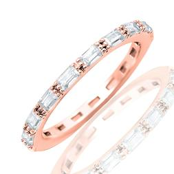 Rose Gold Finish Baguette Simulated Diamonds Eternity Stack