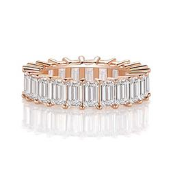 OPALBEST Rose Gold Plated Cubic Zirconia Ring Wedding Band f