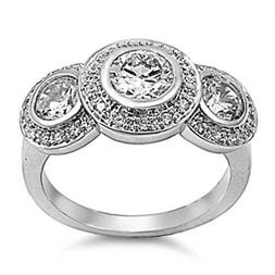Round White CZ Triple Halo Vintage Ring New .925 Sterling Si