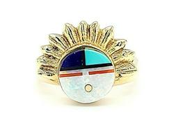 SEE VIDEO HIGH Quality 14k Yellow Gold ZUNI Fine Inlay Ring