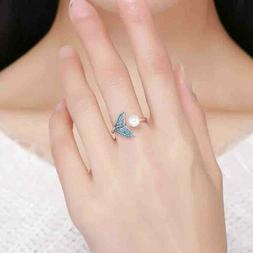 Silver & Pearl The Tail Of Mermaid Adjustable Rings for Wome