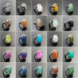 silver plated adjustable rings set with assorted natural gem
