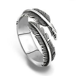 Simple Adjustable Retro Resizable Alloy Feathers Rings Silve