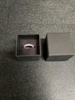 Size 6 Platinum-Plated Sterling Silver Ring w/ Round Swarovs