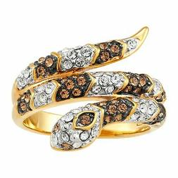 Snake Ring with Crystals in 18K Gold Over Bronze