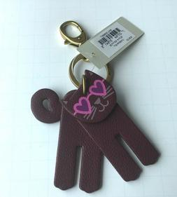 Fossil Sofia Cat Key Fob/ Ring 4 movable parts- pink heart g