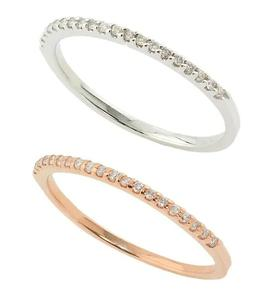 Solid 14k White Gold Diamond Half Eternity Band Stackable Ri