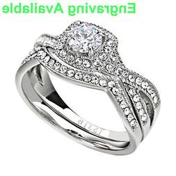 Stainless Steel Clear Round Cubic Zirconia Jewelry Women Wed