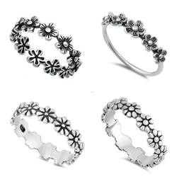 Sterling Silver 925 PRETTY FLOWER SILVER RINGS SIZES 4 to 12
