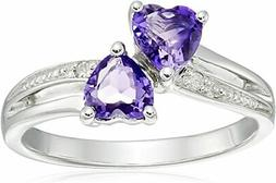 Sterling Silver Diamond Accent and Amethyst Two Heart Ring,