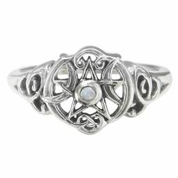 Sterling Silver Heart Wiccan Pentacle Ring - Rainbow Moonsto