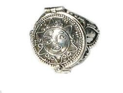Sterling Silver Poison Ring with Round Sun Flower Face Desig