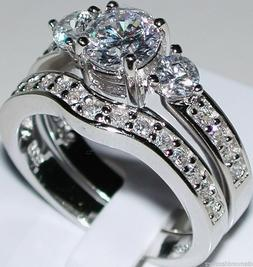 Sterling Silver Round cut Diamond Engagement Ring Wedding Se