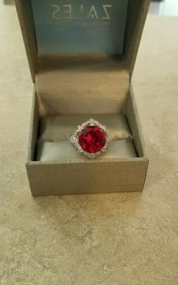 Zales Sterling Silver Ruby, White Sapphire Statement Ring Si