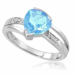 Sterling Silver Trillion Cut Sky Blue Topaz and Diamond Ring