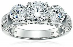 Sterling Silver White Cubic Zirconia 3-Stone Ring, Size 7. A