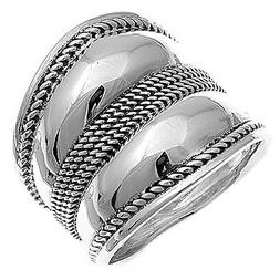 Sterling Silver Woman's Large Bali New Ring Wholesale 925 Ba