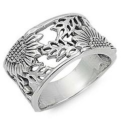 Sterling Silver Woman's Sunflower Ring Flower 925 Wide Band