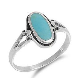 Sterling Silver Woman's Turquoise Ring Simple Cute 925 Band