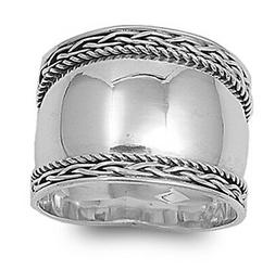 Sterling Silver Woman's Wide Bali Fashion Rope Ring Promise