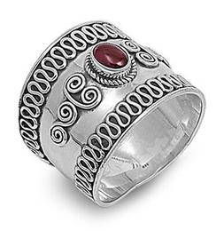 Sterling Silver Woman's Wide Bali Unique Ring Polished 925 B