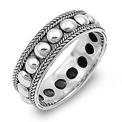 Sterling Silver Womans Men's Bali Rope Bead Ring Unique 925