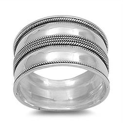 Sterling Silver Women's Bali Rope Ring Wide 925 Fashion Band