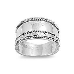 Sterling Silver Women's Bali Rope Ring Wide 925 Band Fashion