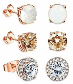 Jstyle Stud Earrings For Women 18K White Gold Rose Plated Cz