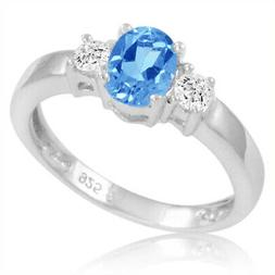 Swiss Blue and White Topaz Three Stone Ring in Sterling Silv